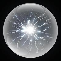 Vector ball lightning or electricity blast storm.