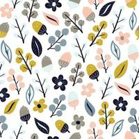 Cute autumn flower and leaf seamless pattern vector