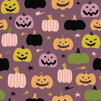 seamless pattern cute pumpkin with ornament cartoon vector