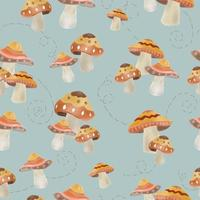 seamless pattern cute mushroom with ornament vector