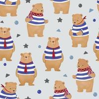 Cute teddy bear family seamless pattern vector