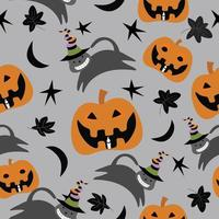 Cute  pumpkin and black cat  with ornament  seamless pattern vector