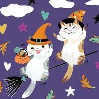 Cute a couple cat having fun on halloween night vector