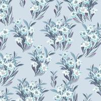 Beautiful white and blue blossom with leaf pattern. vector