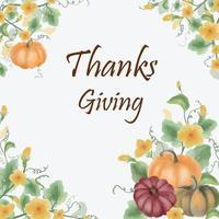 pumpkin thanks giving card. vector