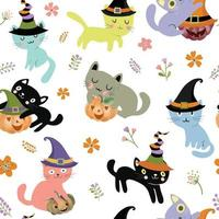 Cute kitty cat family on halloween background seamless pattern vector