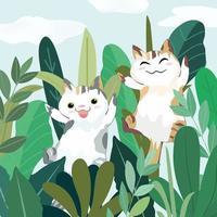 Cute a couple cat having fun in greenery garden cartoon vector