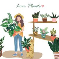 Cute woman and her cat happy with beautiful plants vector