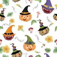 Cute jack o'lantern pumpkin with ornament seamless pattern vector