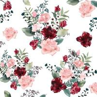Beautiful rose flower bouquet  pattern vector