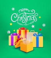 Merry CHristmas greeting card with gift boxes vector