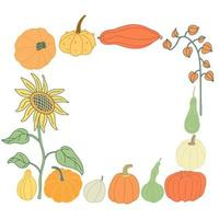 Color doodle frame with colorful pumpkins and autumn plants vector