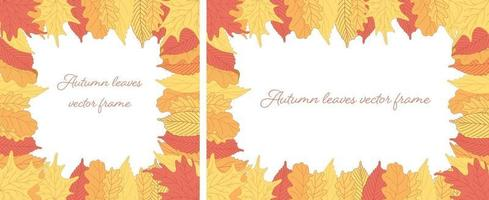 Frames with colorful autumn leaves in color doodle style vector