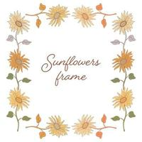 Sunflowers color doodle frame vector