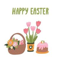 Easter card with a basket full of colorful eggs, cake and tulips vector