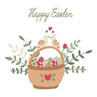 Easter greeting card with a basket full of colorful eggs and birds vector