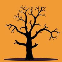 Simplicity halloween dead tree freehand drawing silhouette vector