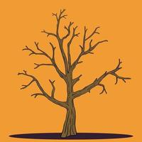 Simplicity halloween dead tree freehand drawing vector