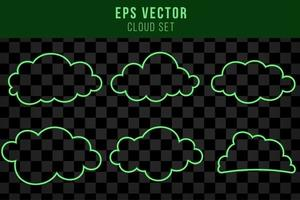 Green cloud neon line isolated vector illustration with shiny glow