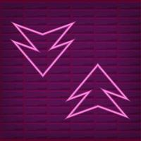 Pink neon arrow outline with brick wall background with purple light vector