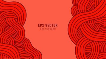 Red wavy lines abstract background with outline style vector