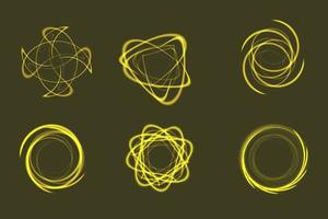 Set of yellow special effect graphic element resources with shiny glow vector
