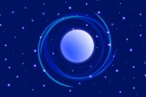Dark blue space cosmic background with planetary and star light effect vector