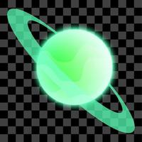 Green planet isolated vector illustration with shiny glow effect