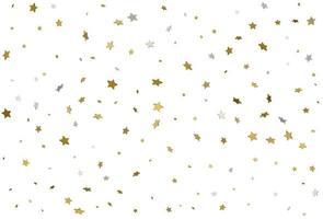 Light gold glitter confetti background. 3d stars. vector