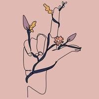 Continuous line of female hands holding flowers, branches vector