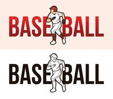 Baseball Font With Sport Players vector
