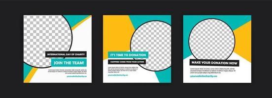 Plantilla de publicación en redes sociales para la campaña del día internacional de la caridad. vector
