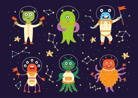 Monster aliens in space suits. Cartoon characters vector