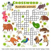 crucigrama de animales de australia. juego para niños pequeños vector