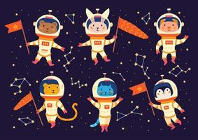 Set of animal astronauts in space suits. vector