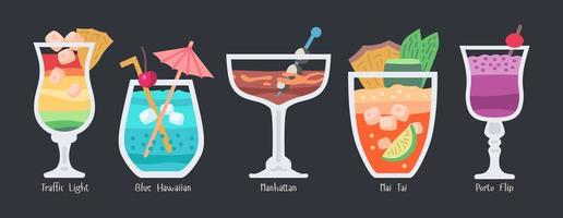 Alcoholic fruit cocktails set. Beach party drinks vector