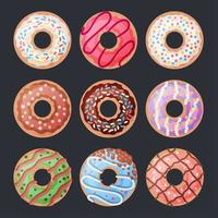 Set of 9 cartoon colorful donuts on black vector