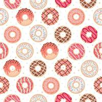 Seamless pattern with colorful donuts with glaze vector