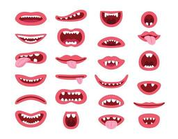 Set of monster s mouth in different poses. vector