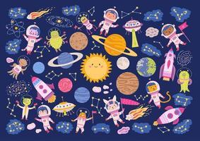 Big set of animal astronauts in space vector