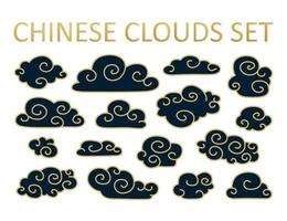 Asian cloud set. Vector collection of clouds in Chinese style