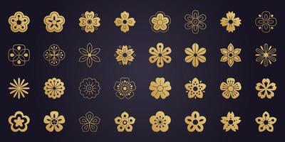 Big vector collection of sakura flowers icons. Cherry blossom