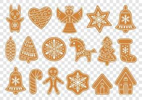 Set of gingerbread christmas cookies. Vector illustration.