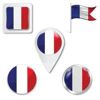 Set of icons of the national flag of France vector
