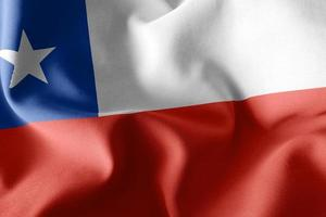 3D rendering illustration closeup flag of Chile photo
