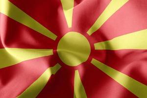 Bandera de ilustración de renderizado 3D de macedonia del norte. foto