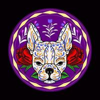 Decorative Dog Head Day of the Dead Mexico Illustration vector