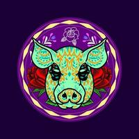 Decorative Pig Head Day of the Dead Mexico Illustration vector
