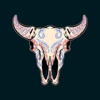 Decorative Bull Skull Head Day of the Dead Mexico Illustration vector