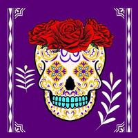 Decorative Skull Head Side Day of the Dead Mexico Illustration vector